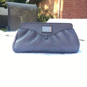 Cole Haan large pewter cosmetic/clutch